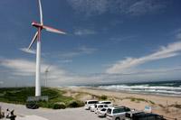 波崎海岸と風力発電機